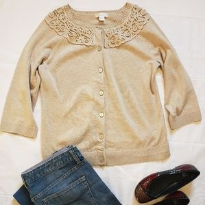 Christopher and Banks Tan Button Front Cardigan